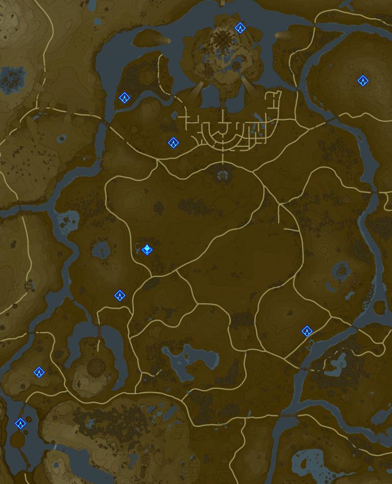 Carte et Sanctuaires de la région de la Tour de la Plaine (château d'Hyrule)
