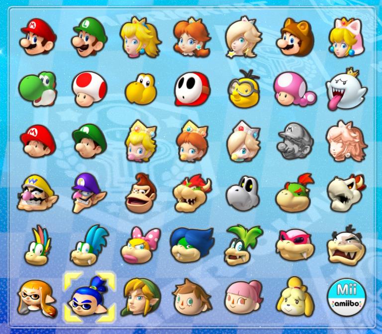 Véhicules et personnages de Mario Kart 8 Deluxe