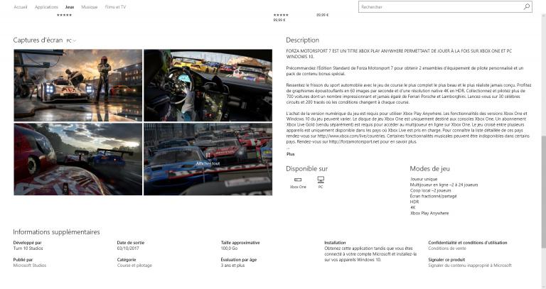 E3 2017 : pas moins de 100 Go requis pour installer Forza Motorsport 7 sur PC