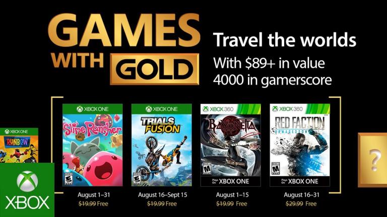 Xbox Live Gold : les jeux gratuits du mois d'août 2017