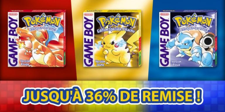 Pokémon Rouge, Bleue et Jaune en promotion sur l'eShop 3DS