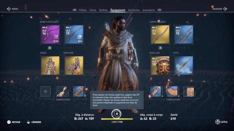 Monter en niveau dans Assassin's Creed Origins