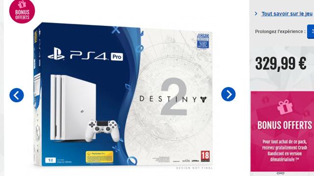 Le pack PS4 pro + Destiny 2 + Crash Bandicoot à -29% !