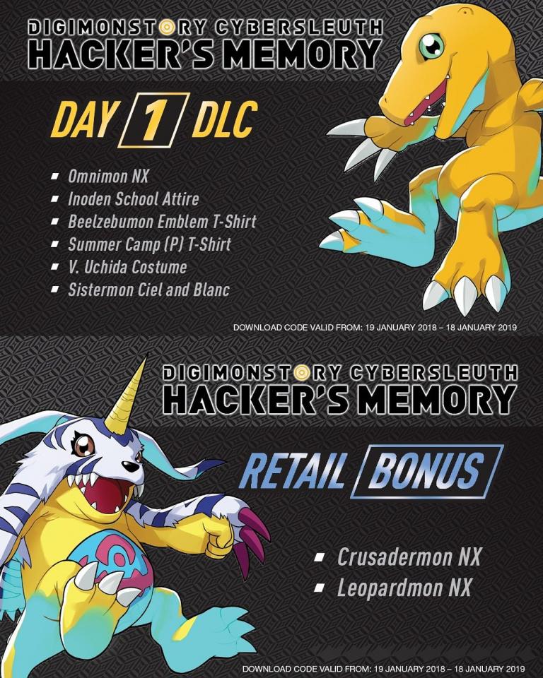 Digimon Story : Cyber Sleuth Hacker's Memory présente ses bonus day one