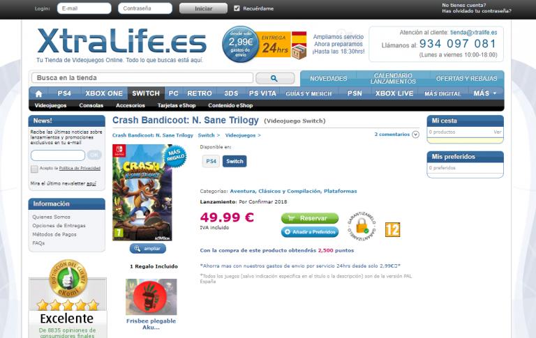 Crash Bandicoot N. Sane Trilogy listé sur Switch en Espagne