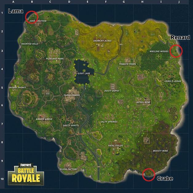Guide Fortnite Battle Royale saison 3 : où trouver le lama, le renard et le crabe ?