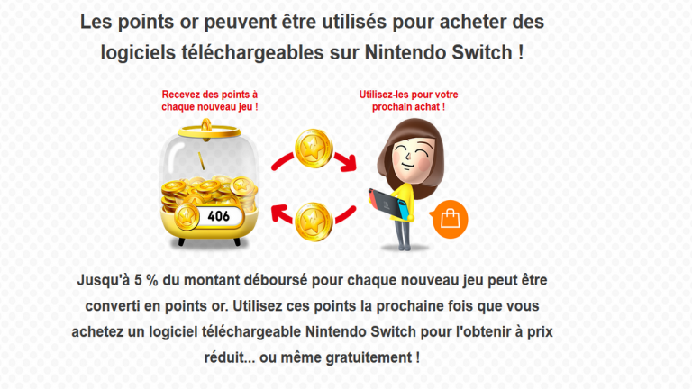 Nintendo Switch : Les points or sont utilisables sur l'eShop