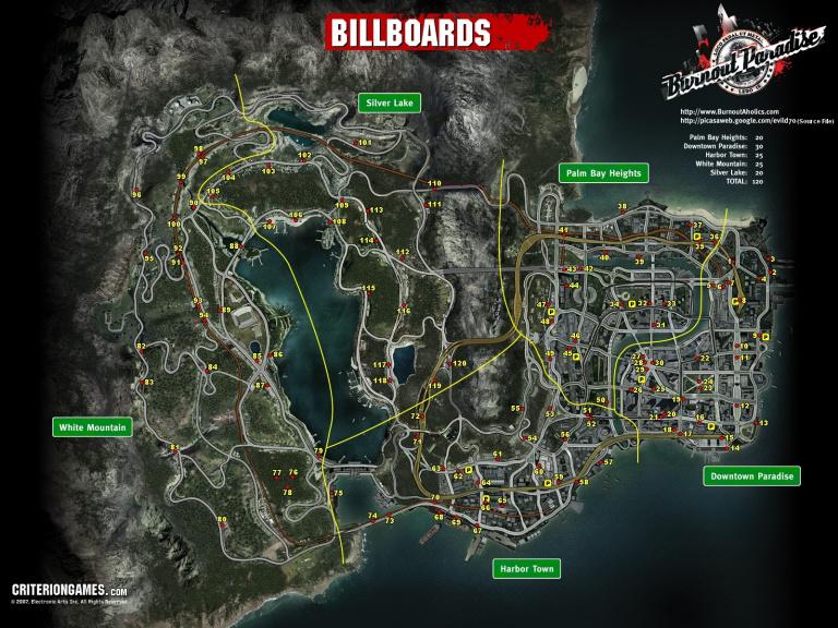 """Carte de tous les panneaux (""""Billboards"""") à exploser"""