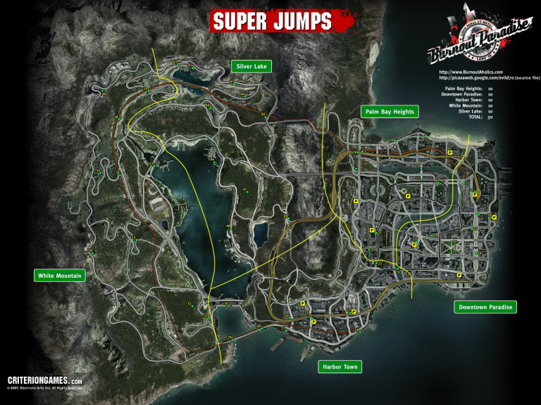 Carte de tous les Super / Mega Jumps