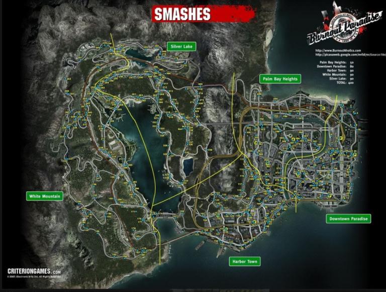 """Carte de toutes les portails ('Smash Gates"""") à exploser"""