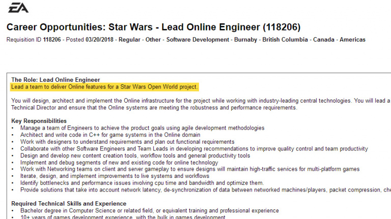 Electronic Arts recrute pour son Star Wars en open-world