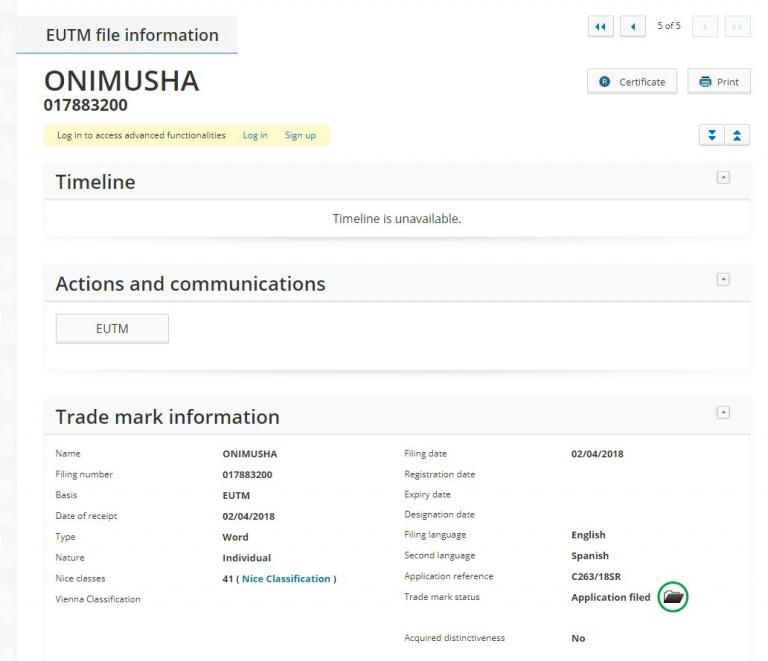 Onimusha : La marque a nouveau déposée dans plusieurs pays