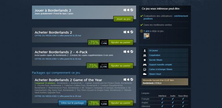 Borderlands 2 : Le jeu de Gearbox gratuit ce weekend sur Steam