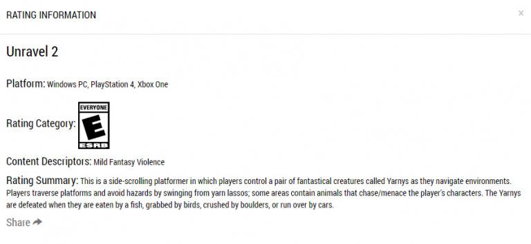 Unravel 2 : le jeu évalué par l'organisme de classification nord-américain