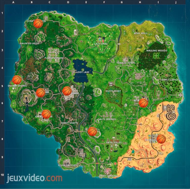 Fortnite, défis semaine 2 saison 5 : oasis, arche de pierre et dinosaures, emplacements paniers de basket