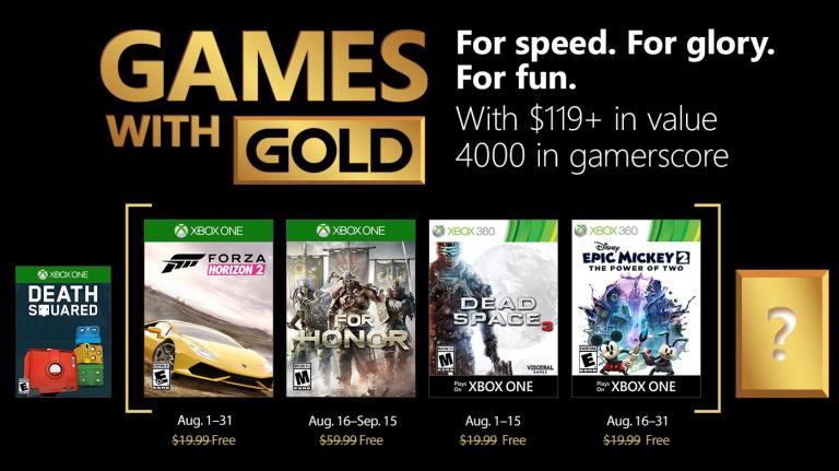 Xbox Live Gold : les jeux gratuits du mois d'août 2018