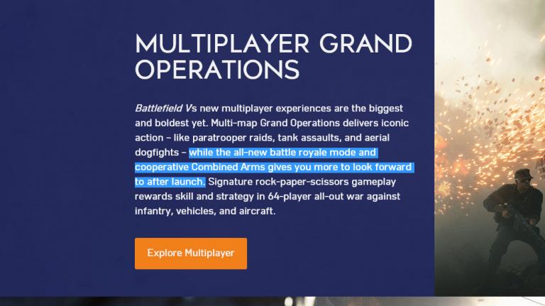 Battlefield V : le mode coopératif absent au lancement