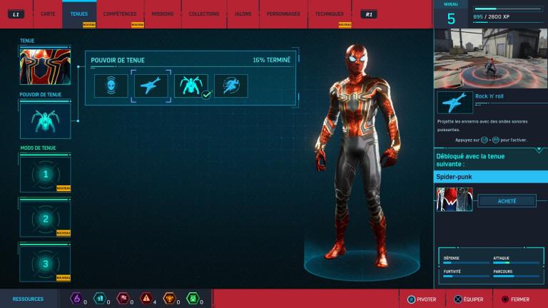 Tenues de Spider-man, pouvoirs et mods