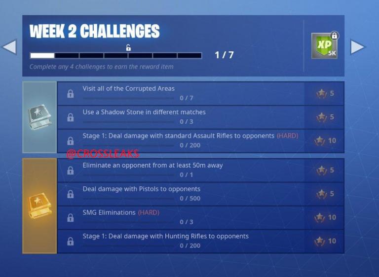 Fortnite Battle Royale, saison 6 : les défis de la deuxième semaine ont fuité