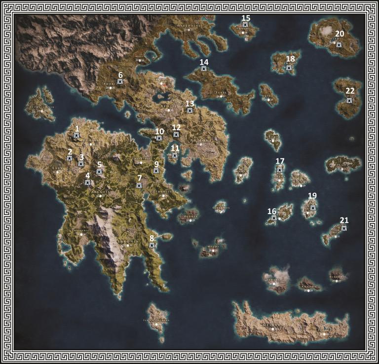 Carte des tombeaux : tous les tombeaux