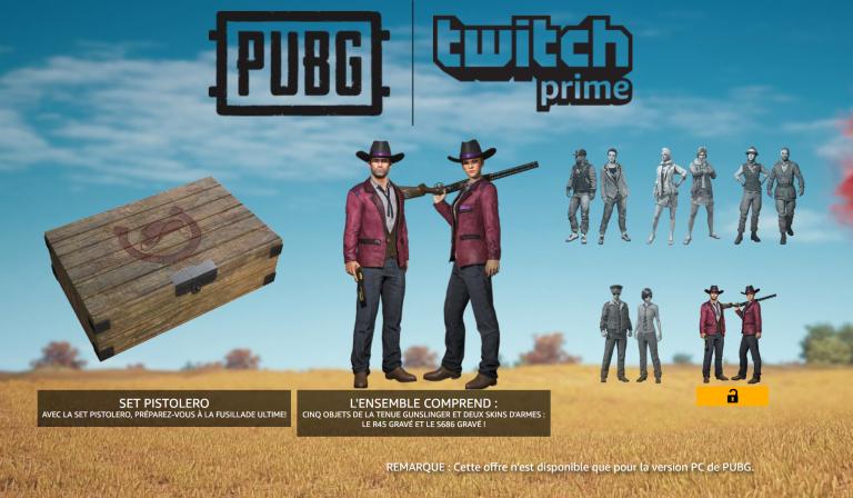 PUBG : Une caisse de skins Pistolero pour les abonnés Twitch Prime