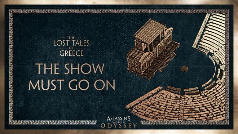 """Assassin's Creed Odyssey, DLC gratuit Contes perdus de la Grèce : """"Le spectacle doit continuer"""", notre guide de la 1ère partie"""