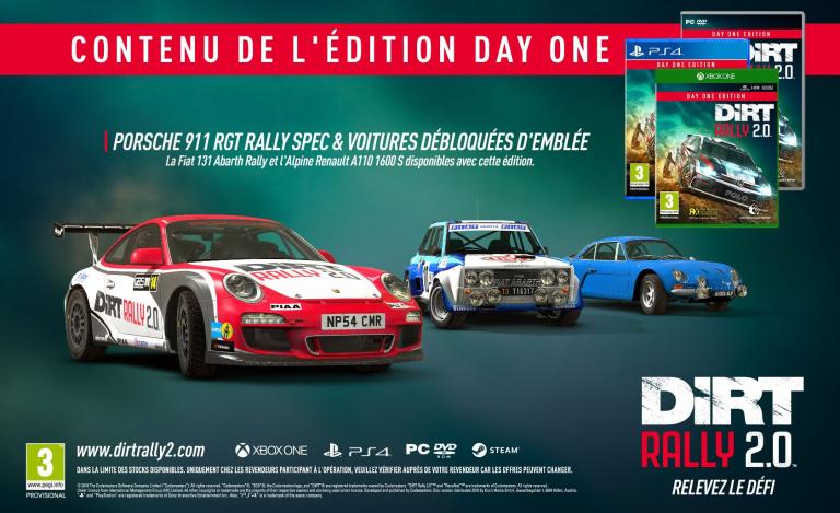 DiRT Rally 2.0 : les bonus de précommande et le contenu de l'édition Deluxe dévoilés