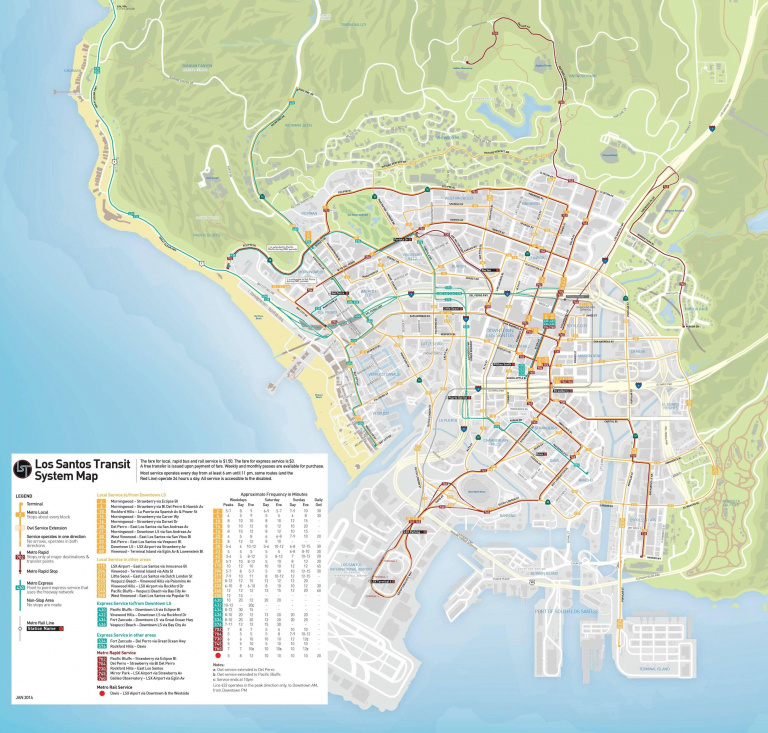 Carte des transports publics de Los Santos