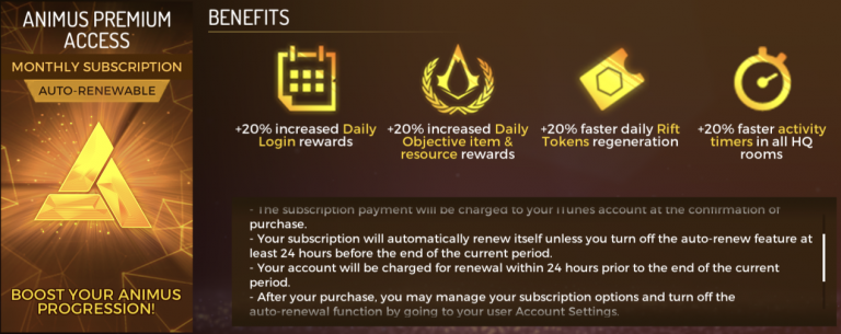 Assassin's Creed Rebellion : Une progression 20% plus rapide pour 9,49€ par mois