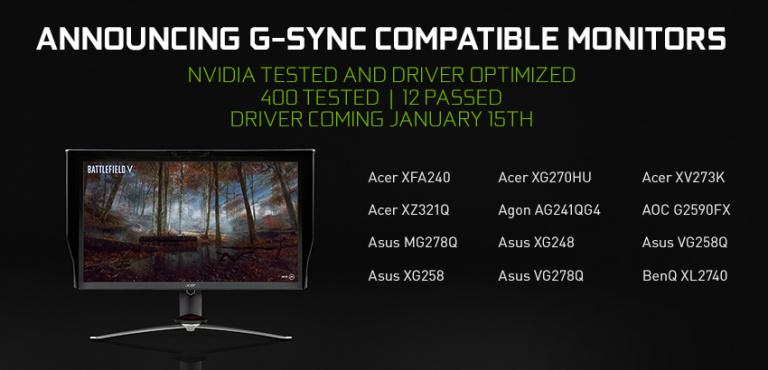 Nvidia va rendre certains écrans Freesync compatibles avec G-Sync
