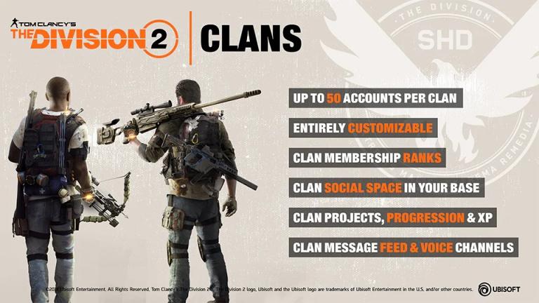 The Division 2 : Le système de Clan à la loupe