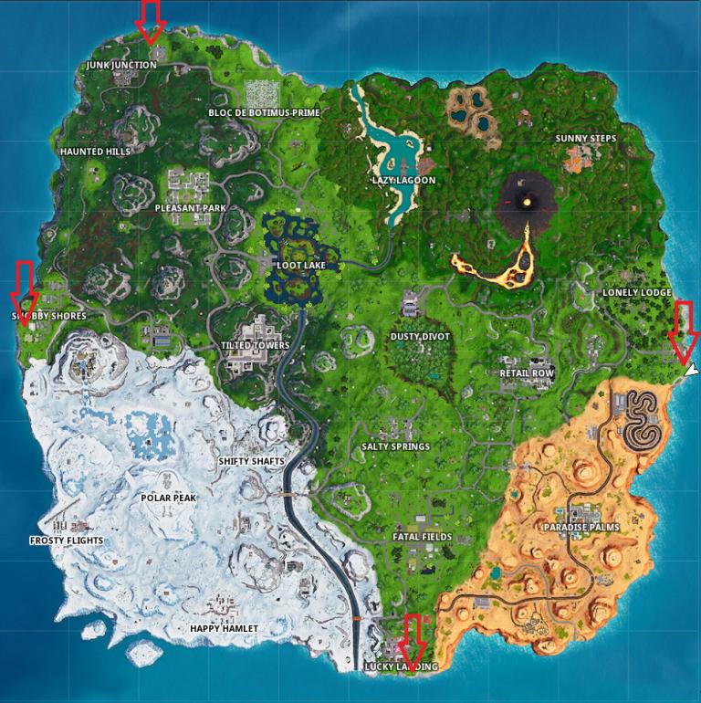 Fortnite, défi : Visiter les points les plus au nord, à l'ouest, à l'est et au sud de la carte (saison 8, semaine 2)