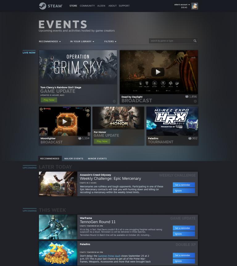 Steam se dotera bientôt d'une page Evènements