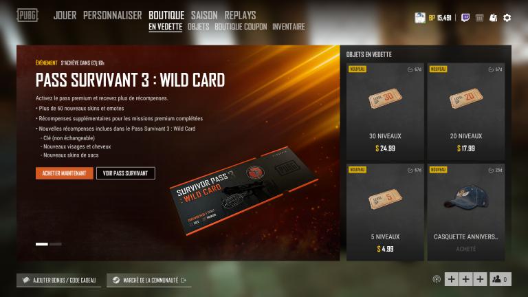 """PUBG, Pass de survivant 3 """"Wild Card"""" : notre guide complet"""