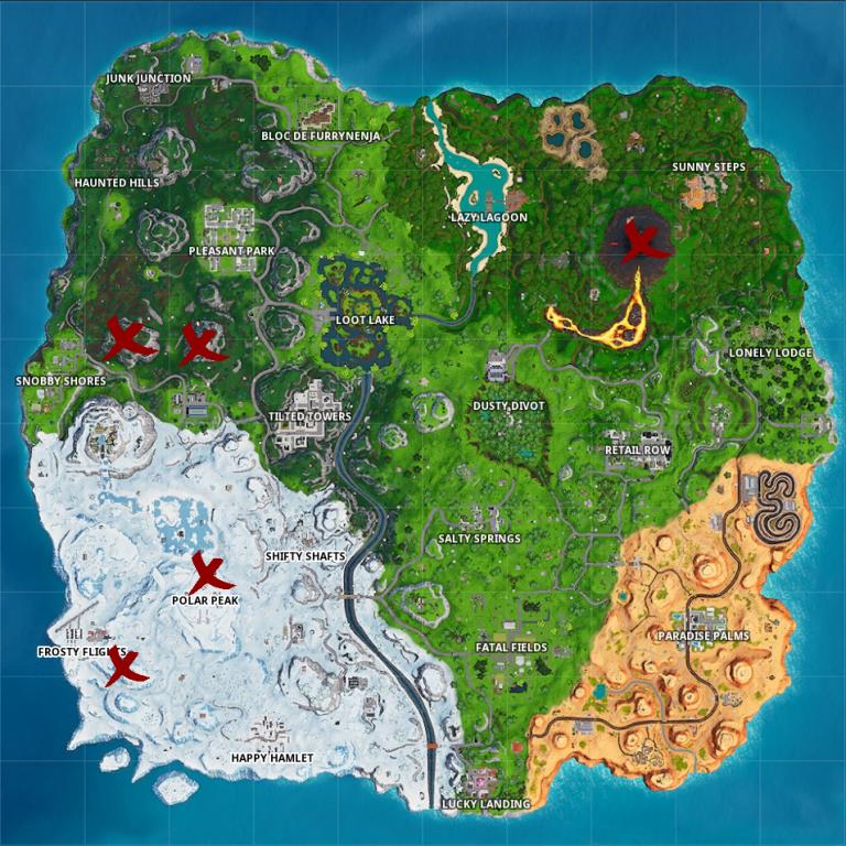 Fortnite : Visiter les cinq endroits les plus élevés de l'île, la carte (défi saison 8, semaine 6)