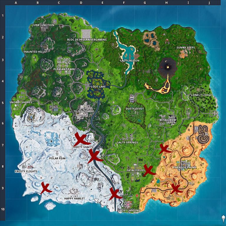 Fortnite, Défi : Trouver des pièces de puzzle sous les ponts et dans les grottes (semaine 8, saison 8)
