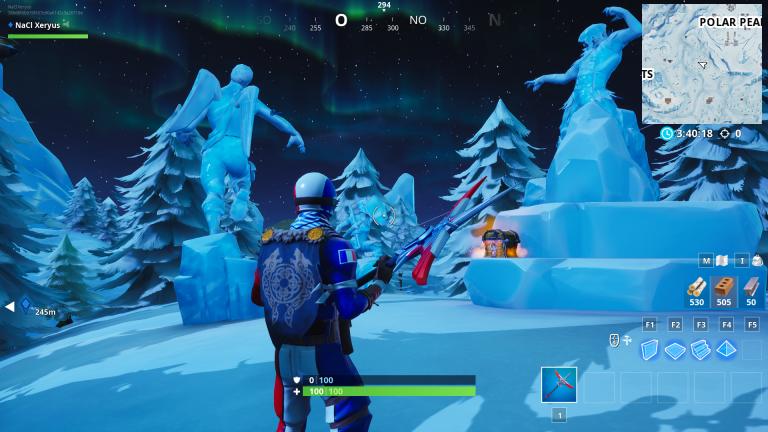 Fortnite, Défi : Danser entre trois sculptures de glace, trois dinosaures, quatre sources (semaine 9, saison 8)