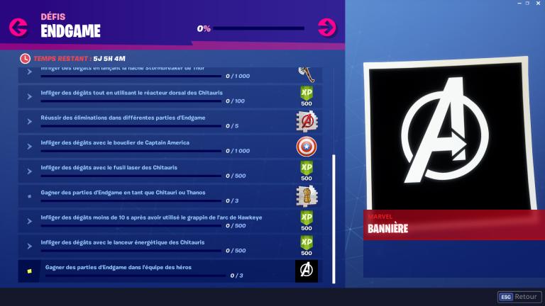 Fortnite, défis gratuits Avengers EndGame : liste et guide complet (Jour 4)
