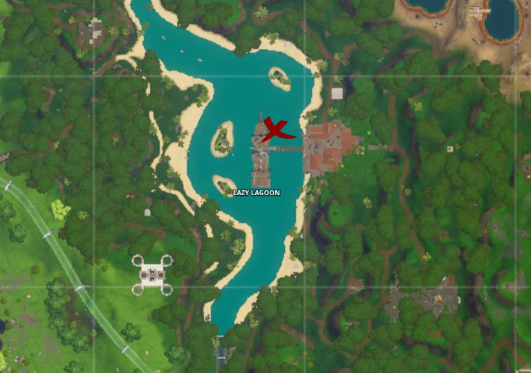 """Fortnite, Puce n°70 : """"Traverser en chute libre les anneaux au dessus de Lazy Lagoon avec la traînée de condensation Bariolé"""", le guide (Défi Décryptage)"""