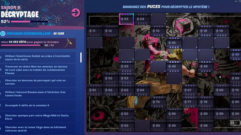 Fortnite, Puces, défi Décryptage : la liste et le guide complet [MàJ]