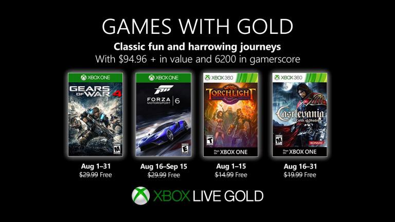 Xbox Live Gold : Les jeux gratuits du mois d'août 2019