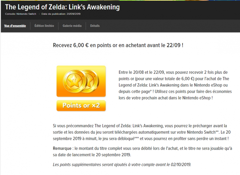 The Legend of Zelda Link's Awakening : comment doubler vos points or My Nintendo ?