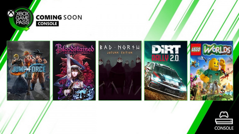 Xbox Game Pass : Jump Force, Dirt Rally 2.0 et Bloodstained : Ritual of the Night dans la prochaine fournée
