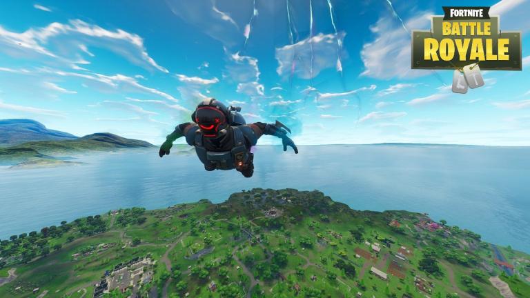 Fortnite, saison 10 : Terminer le parcours de chute libre au dessus de Dusty Depot après avoir sauté du bus de combat (mission Dans le mille !)