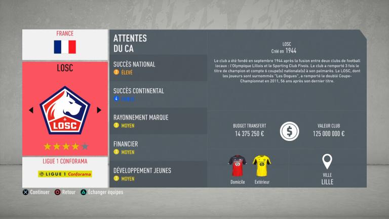 FIFA 20 : tous les budgets des clubs de Ligue 1 Conforama (France)
