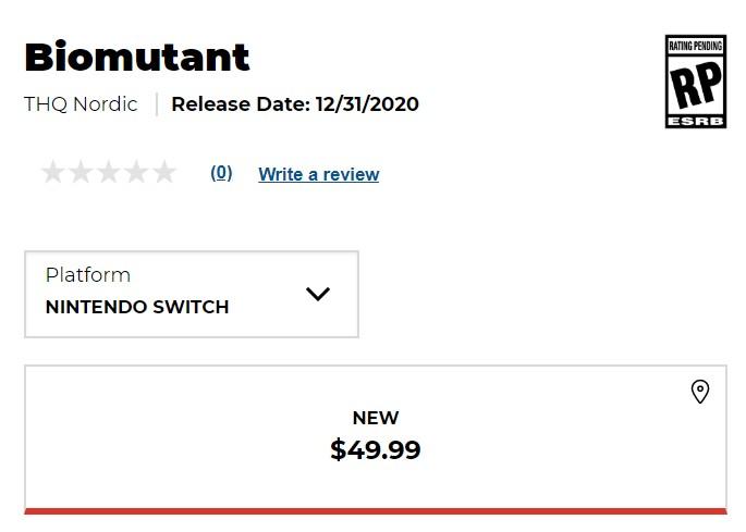 Biomutant à nouveau listé sur Switch par un revendeur
