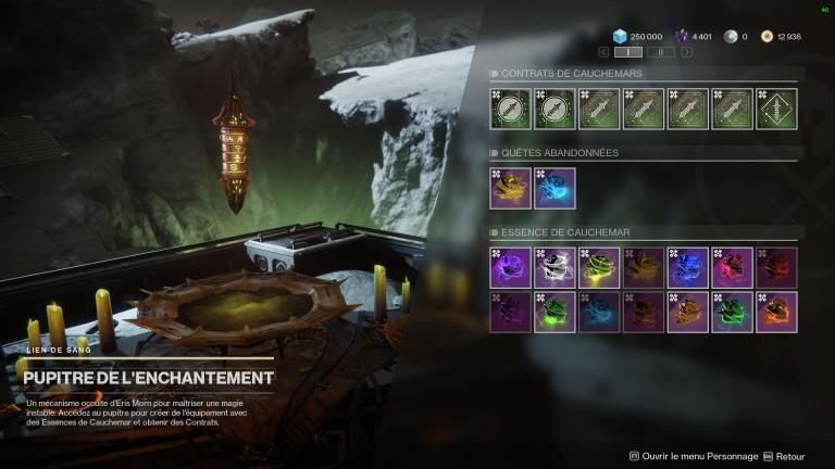 Destiny 2, Bastion des Ombres : les quêtes du Pupitre de l'Enchantement
