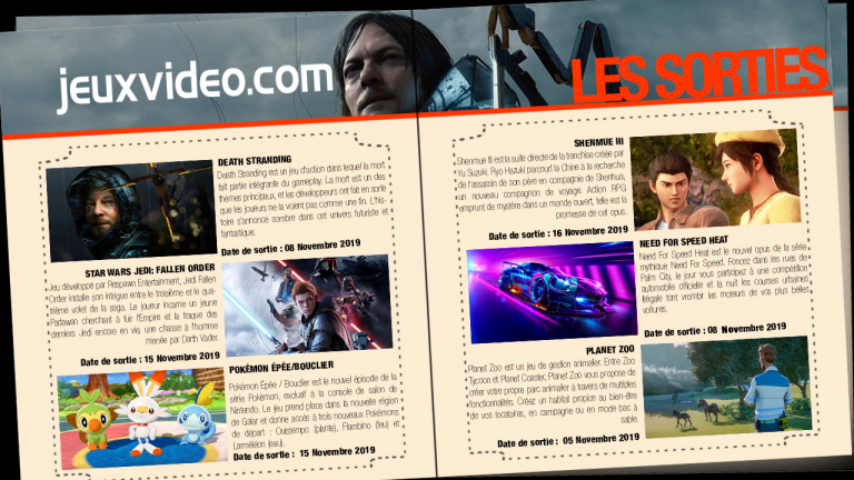 Les sorties du 8 novembre : Death Stranding, Need For Speed, Mario & Sonic, ...