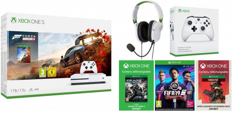 Black Friday : Pack Xbox One S + 2 jeux + Casque Turtle Beach + Token GOW 4 & Apex Legend à 210€