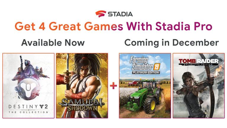 Google Stadia Pro : Farming Simulator 19 et Tomb Raider seront offerts en décembre